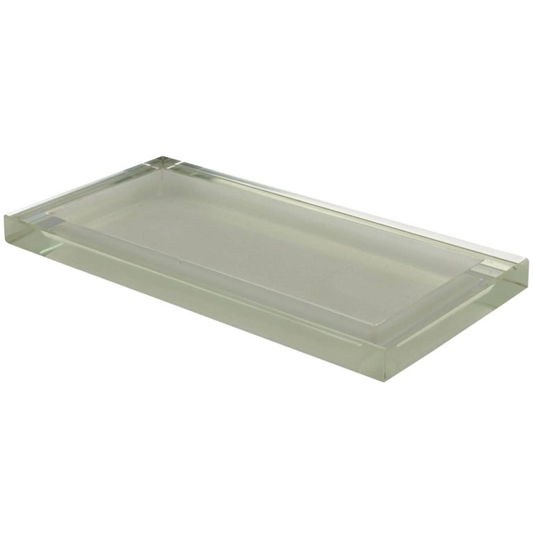 Art Deco Thick Mirrored Glass Slab Desk Accessory Tray Platter by Jean Luce