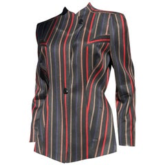 Vintage 1980s Thierry Mugler Asymmetrical Tailored Striped Jacket