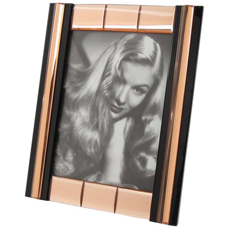 French Mid-Century Black and Copper Mirror Picture Photo Frame