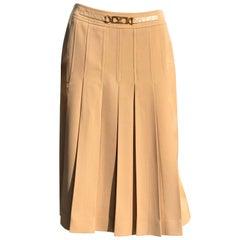Vintage 1980s Camel Celine Paris Pleated Skirt