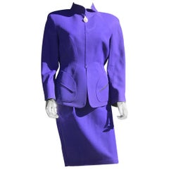 Vintage 1980s Thierry Mugler Sculptured Suit in Bright Blue