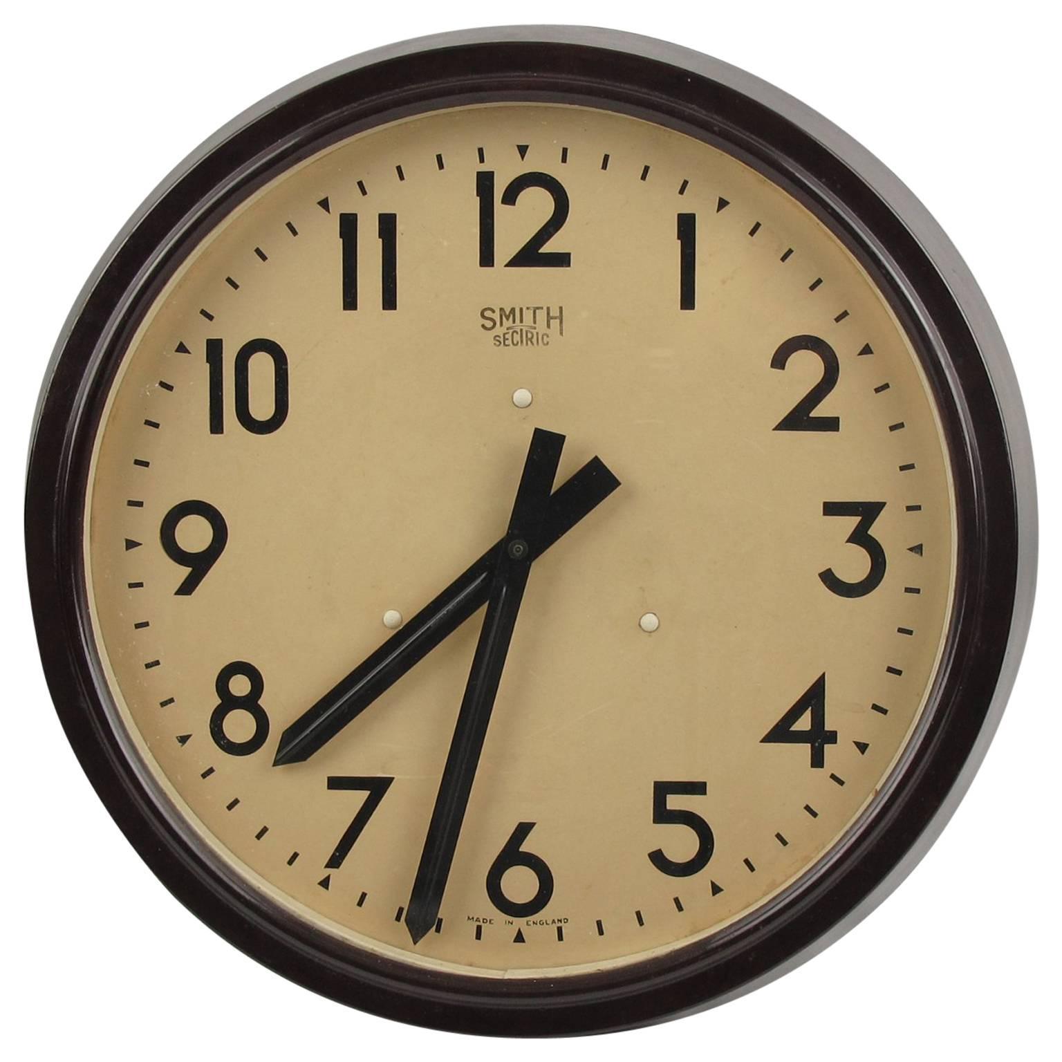 Huge Industrial Factory English Art Deco Bakelite Wall Clock by ...
