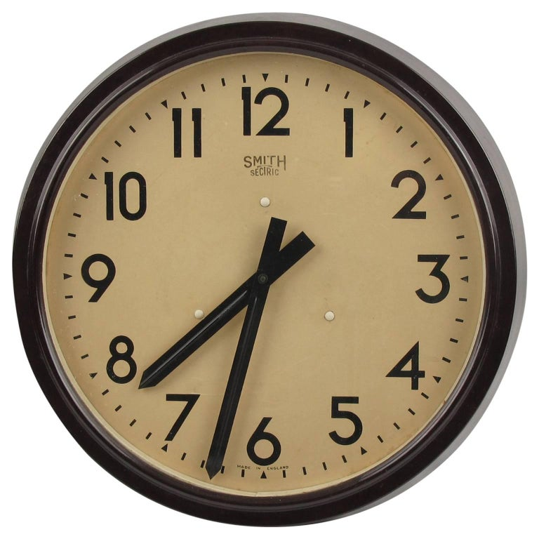 Huge Industrial Factory English Art Deco Bakelite Wall Clock by Smith