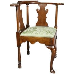 George II Walnut Corner Chair