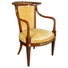 Directoire Style Walnut Armchair