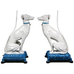 Pair of Pottery Figures of Seated Whippets Mounted as Lamps