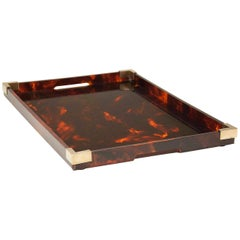 Serving Tray Tortoise Lucite and Brass Attributed to Dior Home Collection