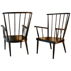1960s French Pair of Large Wooden Armchairs