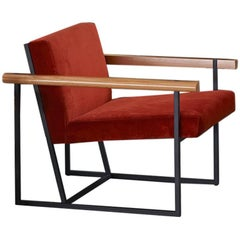 Ray Steel and Wood Frame Contemporary Armchair