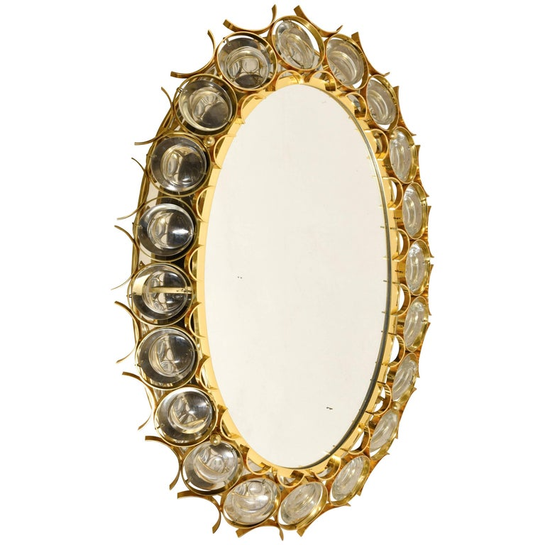 Illuminated Crystal Oval Wall Mirror Designed by Ernst Palme by Palwa Germany
