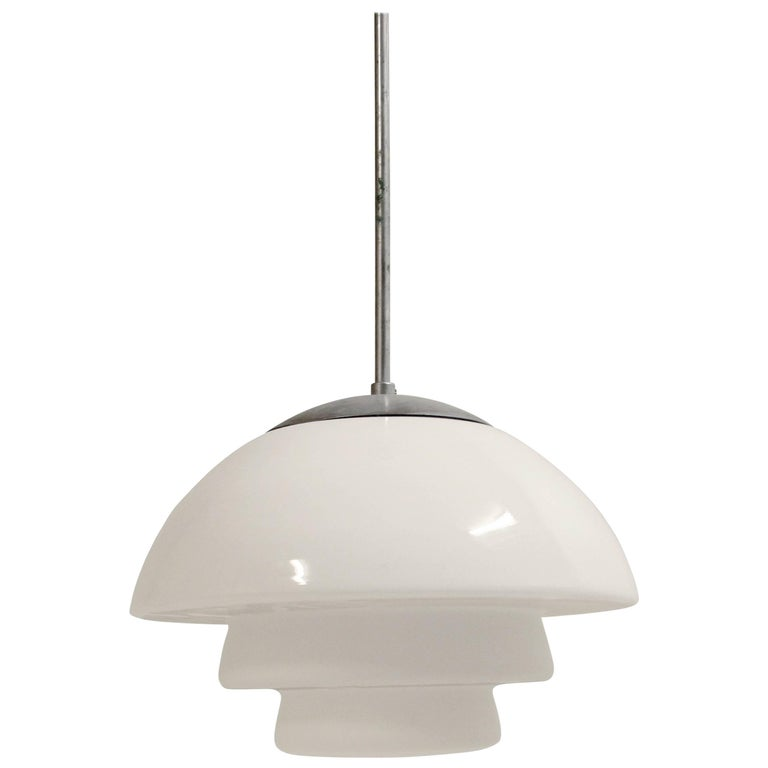 Scandinavian Functionalist Ceiling Light in Glass, 1950s