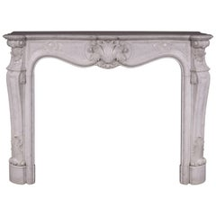 Antique Louis XV Style Fireplace in Carrara Marble with Large Shell
