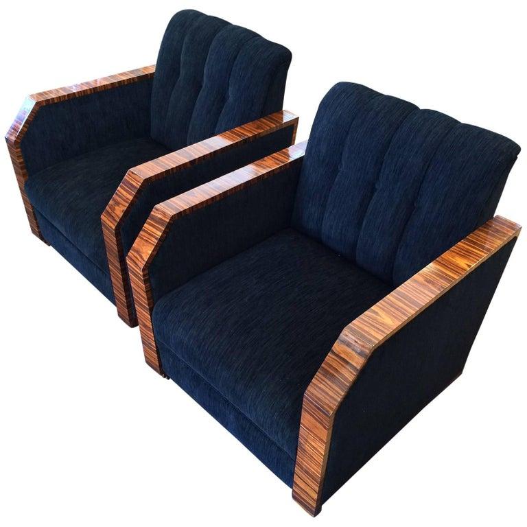 Pair of Art Deco Style Makassar Armchairs