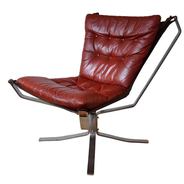 Danish Chrome Base Falcon Chair, SIgurd Ressell, 1970's.
