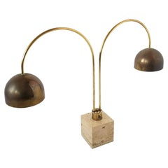1970s Harvey Guzzini Travertine and Brass Plated Arc Table Lamp, Italia