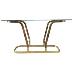 Hollywood Regency Brass and Glass Oval Modern Console or Entry Table, 1970s