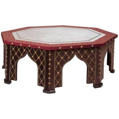 Damascene Coffee Table with Antiqued Mirror Top