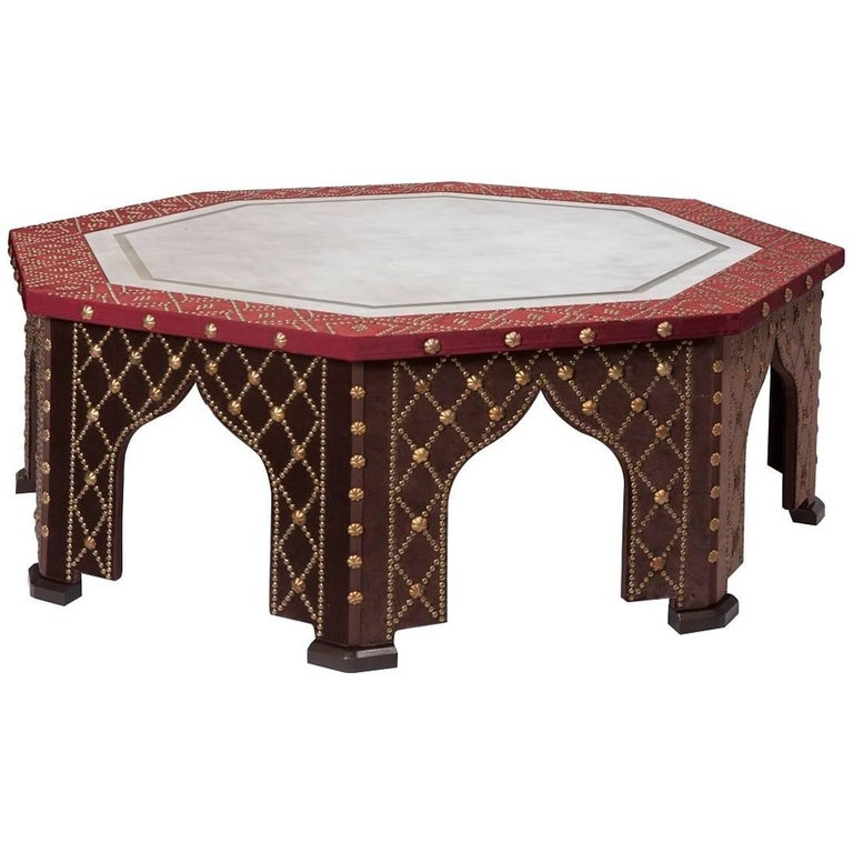 Damascene Coffee Table With Antiqued Mirror Top For Sale At 1stdibs