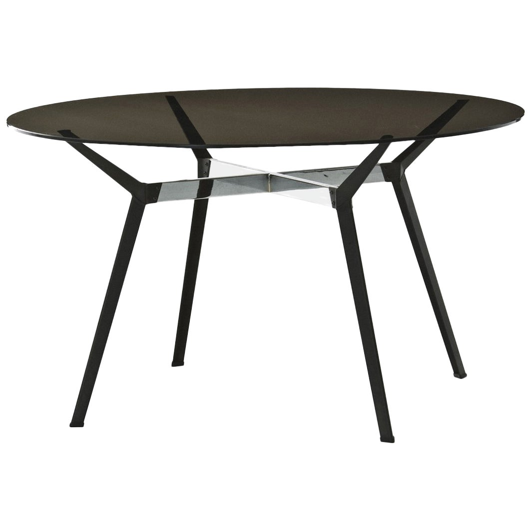 """""""Pylon"""" Round Table with Bronze Glass Top and Steel Base by Moroso for Diesel"""