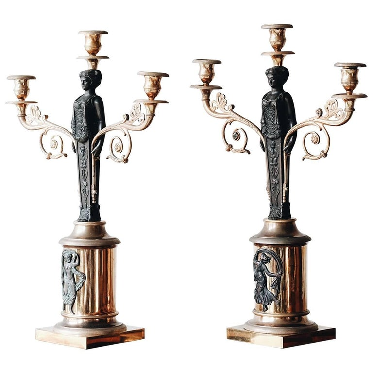 19th Century Swedish Empire Candelabras For Sale
