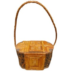 Vintage African Figured Wood Box with Woven Rattan Handle