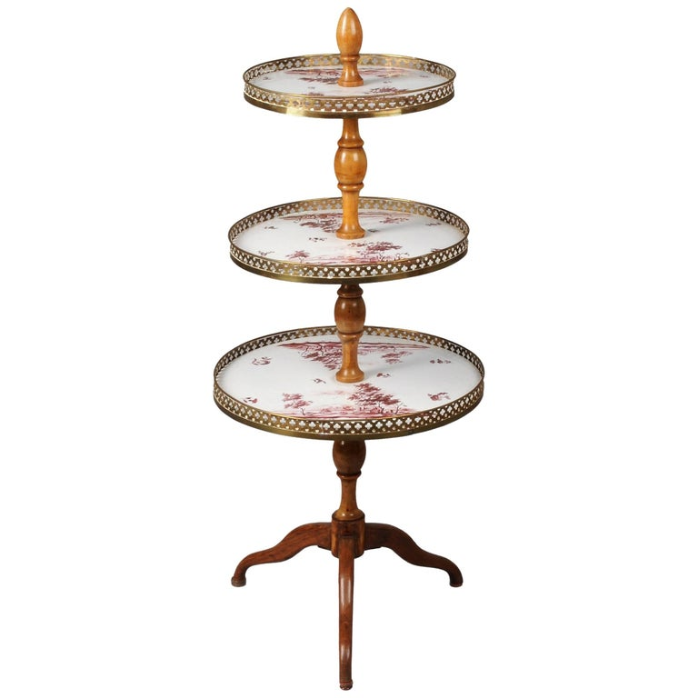 Antique Gilt Bronze and Porcelain Cake Stand For Sale