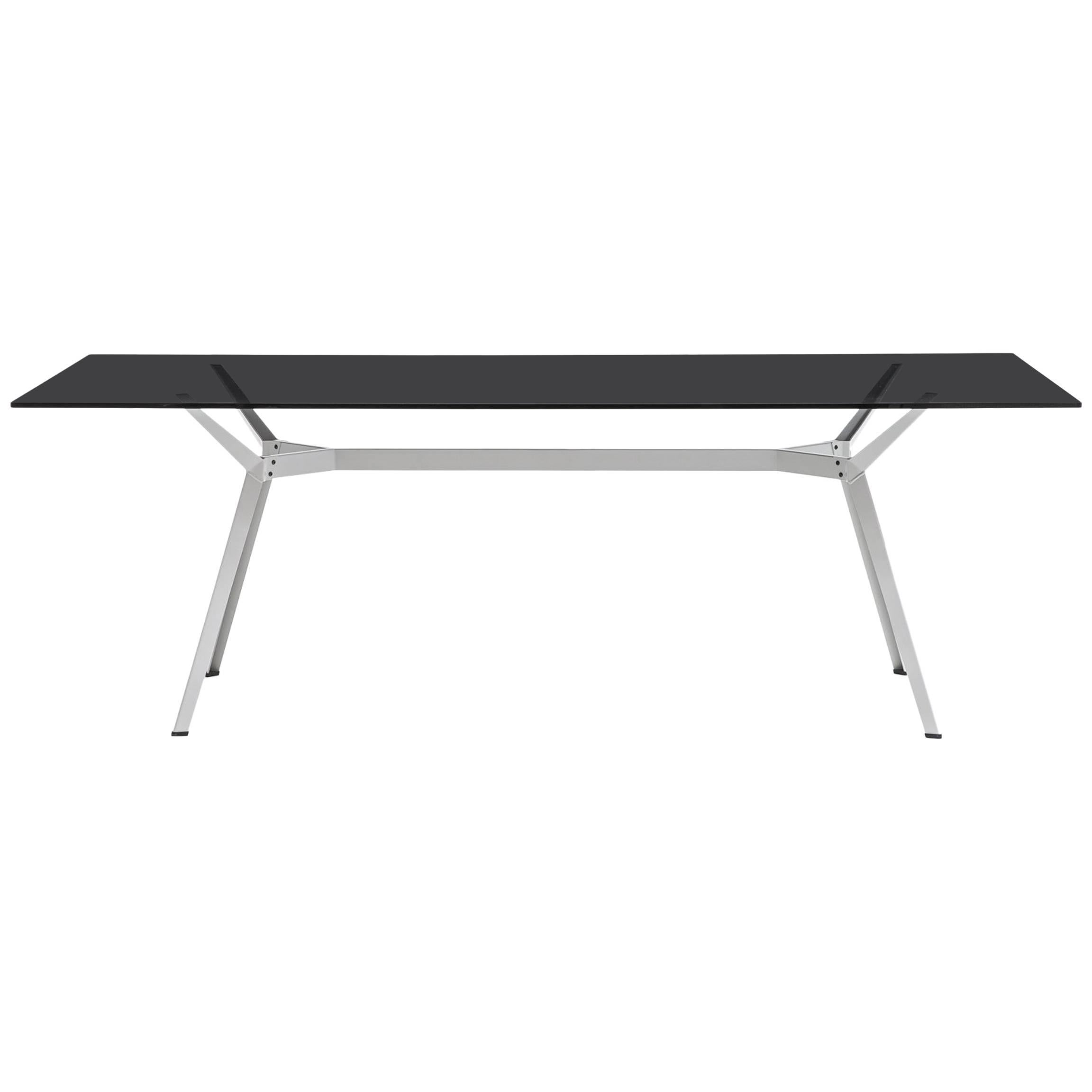 U201cPylon Fumeu0027u201d Rectangular Table In Smoked Glass And Steel By Moroso For  Diesel