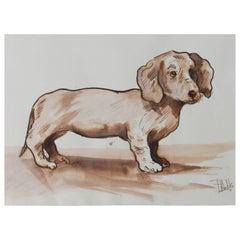 Original Dog Painting Daschund by Peter Hobbs, 1930-1994 Sepia tone Watercolor