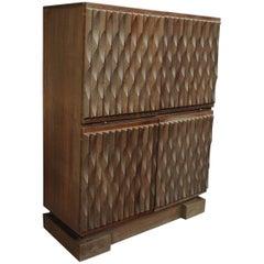Oak Brutalist Bar Cabinet by De Coene, 1970