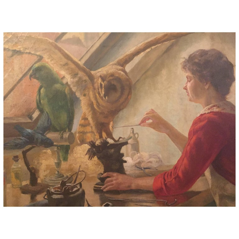 Unusual Painting of a Woman Taxidermist with owl and Parrots