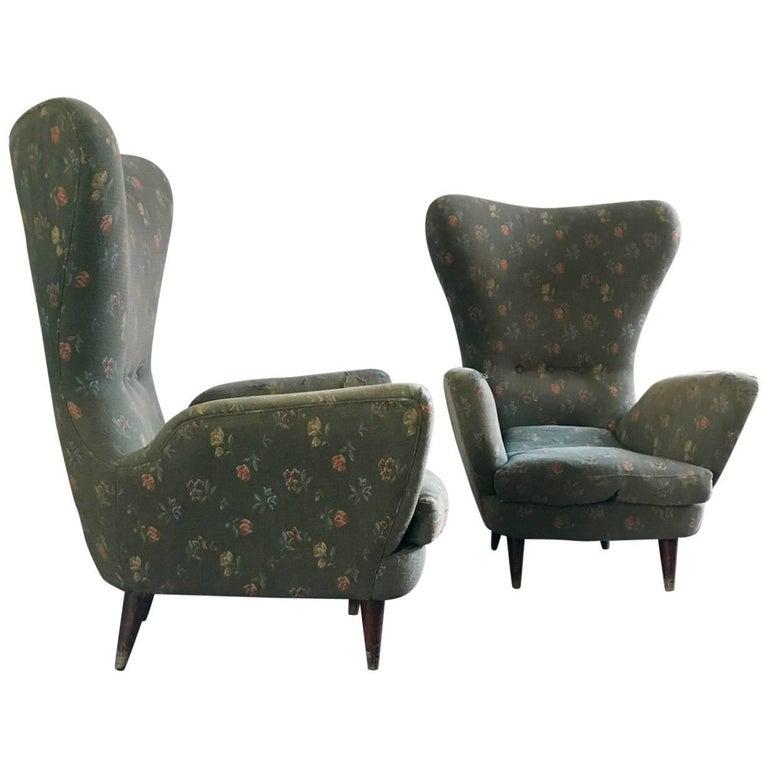Pair of Italian Armchairs Original Fabric, 1950s
