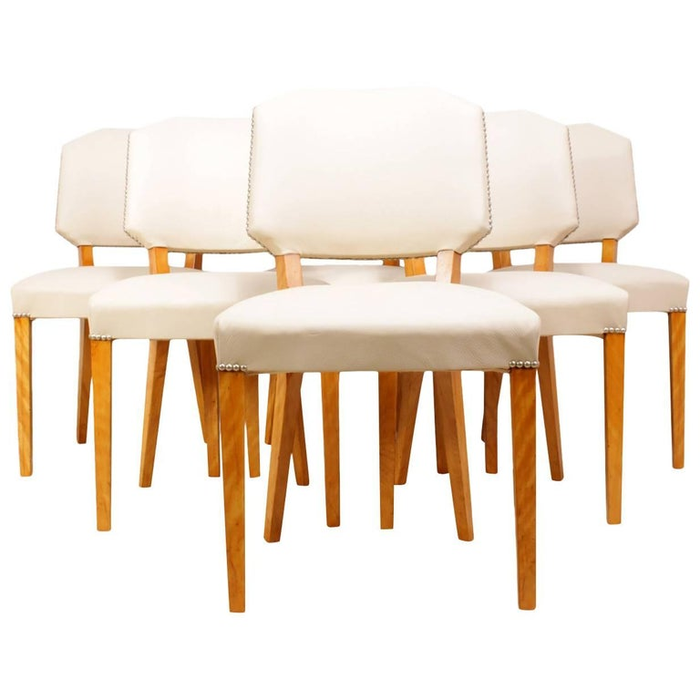 Set of Six Art Deco Dining Chairs