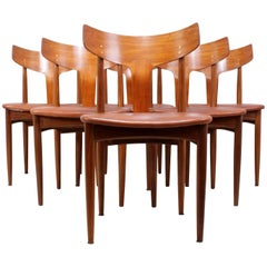 Set of Midcentury Dining Chairs in Teak and Leather