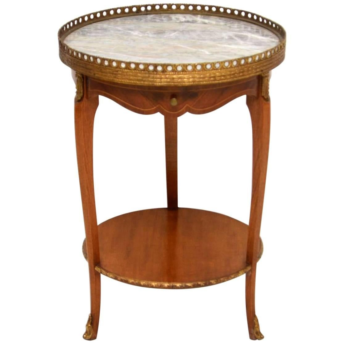Antique French Marble Top Side Table For Sale