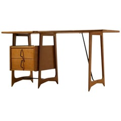 Midcentury French Reconstruction Period Oak Wood Desk by Pierre Cruege