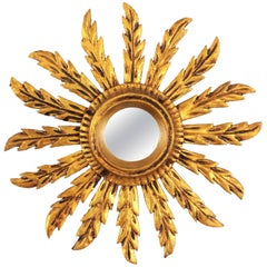 Baroque Giltwood Carved Small Sunburst Mirror, Spain, 1920s