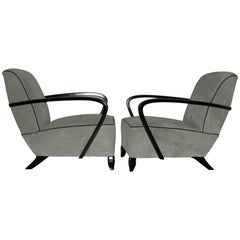 Art Deco Pair of Grey Nubuk Chairs with Black Handles