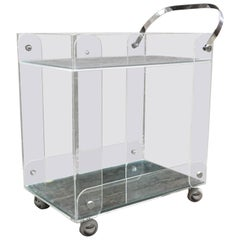 1970s Lucite and Chrome Bar Cart
