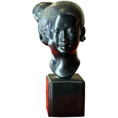 Asian Early 20th Century Burnished Bronze Woman Head on Ebonized Wood Base