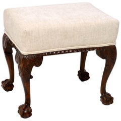 Antique Carved Mahogany Stool