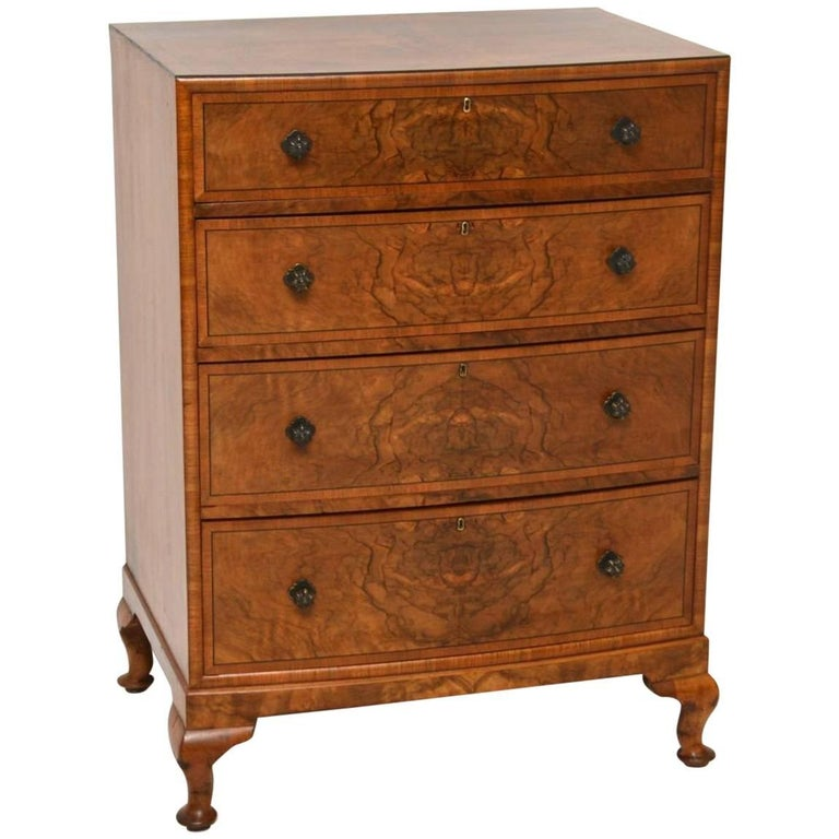 Antique Walnut Bow Front Chest of Drawers