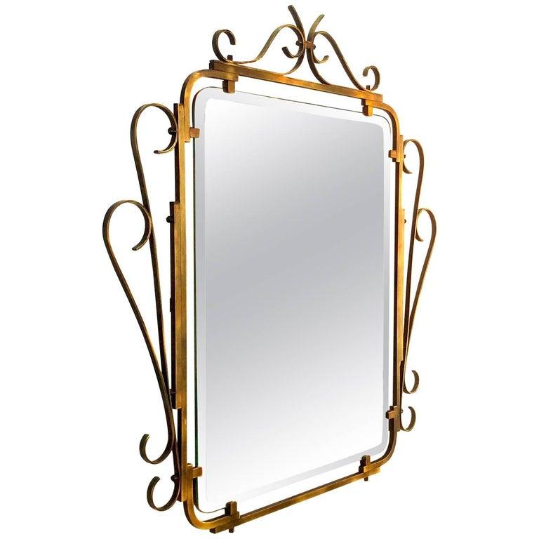 Brass Mirror with Decorative Brass Frame