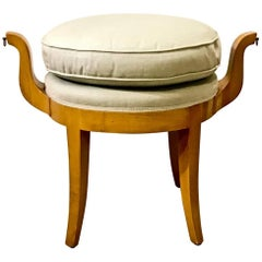 French Deco Vanity Stool in Sycamore