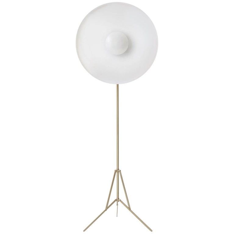 Parabola White, Copper Floor Lamp with Brass Base Designed by Atelier Biagetti For Sale