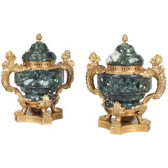 19th Century Pair of Green Marble and Ormolu Vases