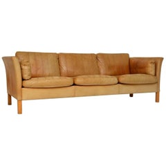 1960s Danish Vintage Leather Sofa by Mogens Hansen