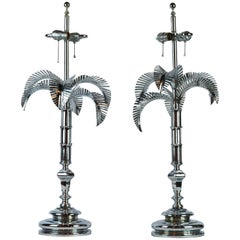 Pair of Vintage Hollywood Regency Norman Perry Chromed Palm Frond Table Lamps