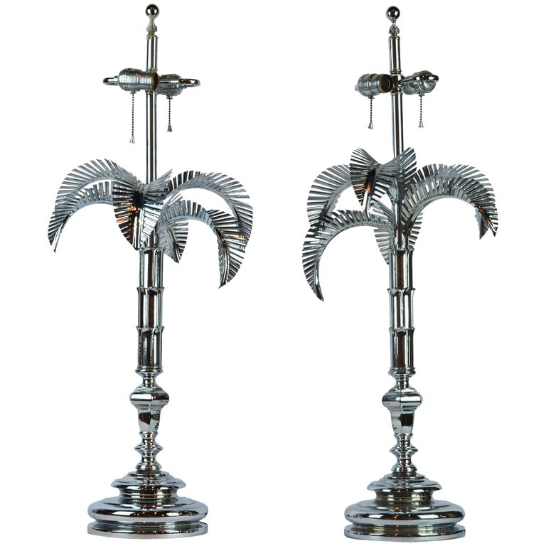 Pair of Vintage Hollywood Regency Norman Perry Chromed Palm Frond Table Lamps For Sale