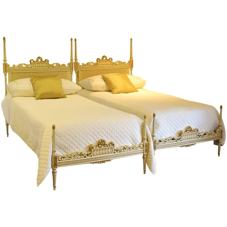 Painted Cane Pair Of Twin Beds Wp14 For Sale At 1stdibs