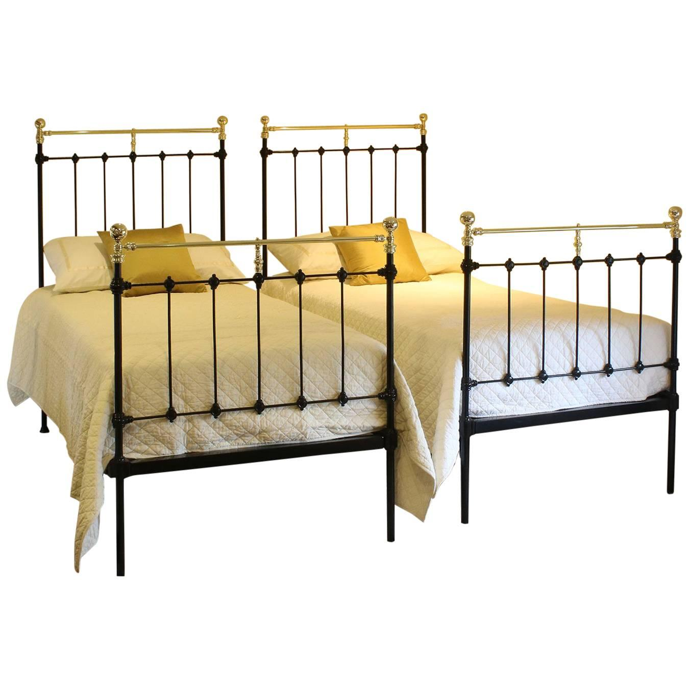 Double Brass and Iron Bed, MD51 at 1stdibs